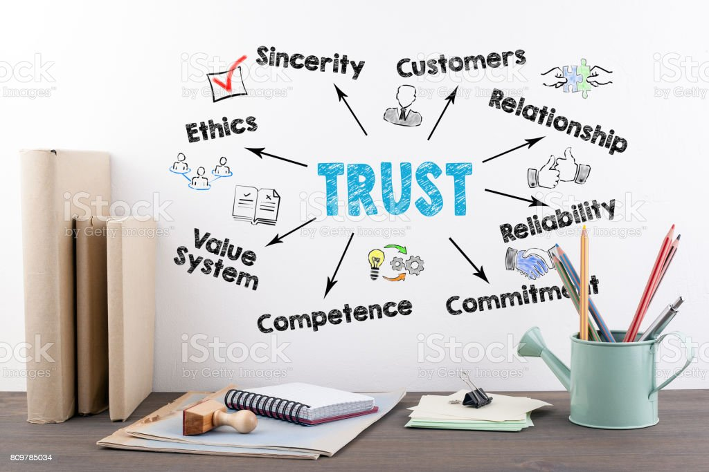 Trust Concept. Books and stationery on a wooden office desk stock photo