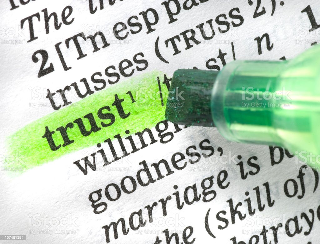 trust definition highligted in dictionary royalty-free stock photo