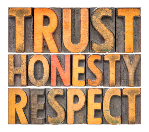 trust, honesty, respect word abstract in wood type - respect stock photos and pictures