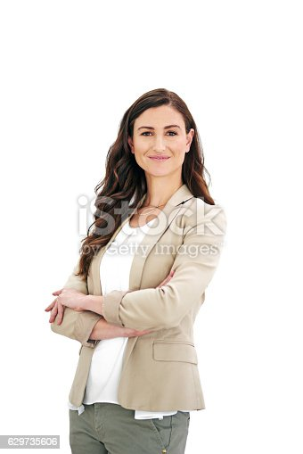 Studio portrait of an attractive young business woman isolated on white