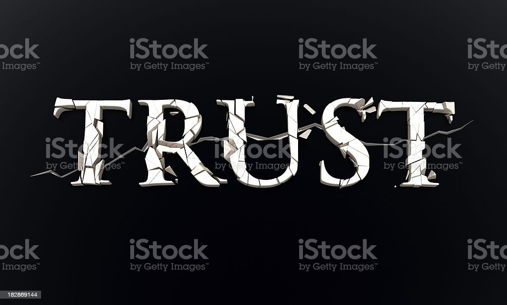 Trust word broken royalty-free stock photo