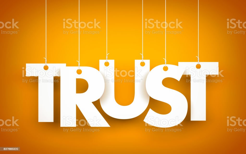 Trust - word hanging on orange background. 3d illustration - foto stock