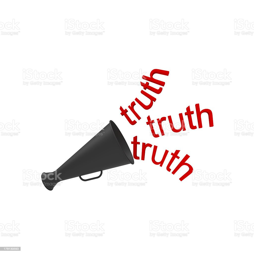 Truth in red coming from black bullhorn stock photo