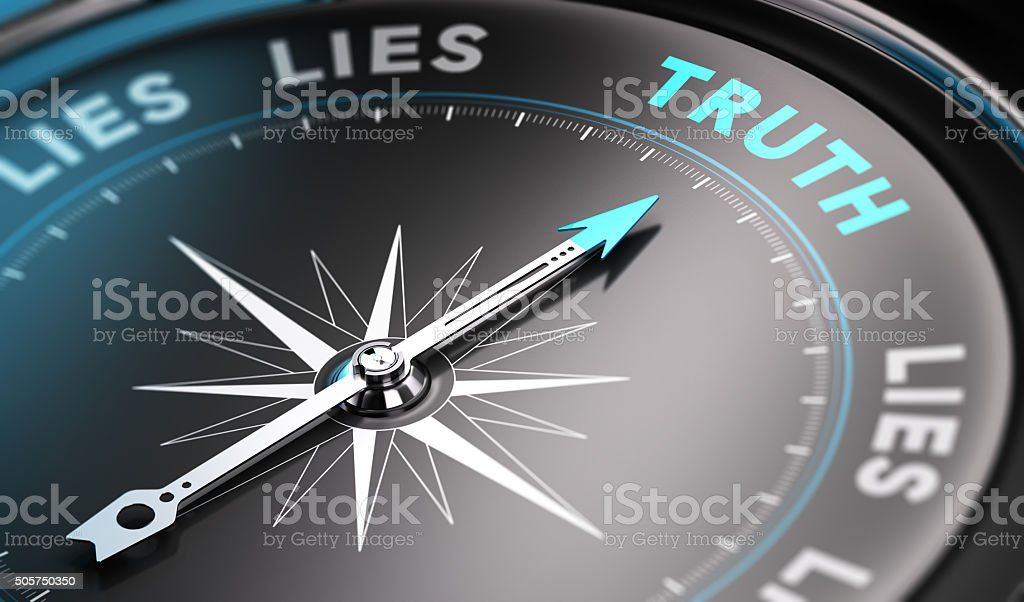 Truth Black compass with needle pointing the word truth. Blue tones. Background image for illustration of solutions concept Abstract Stock Photo