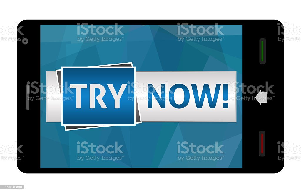 Try Now In Smartphone stock photo