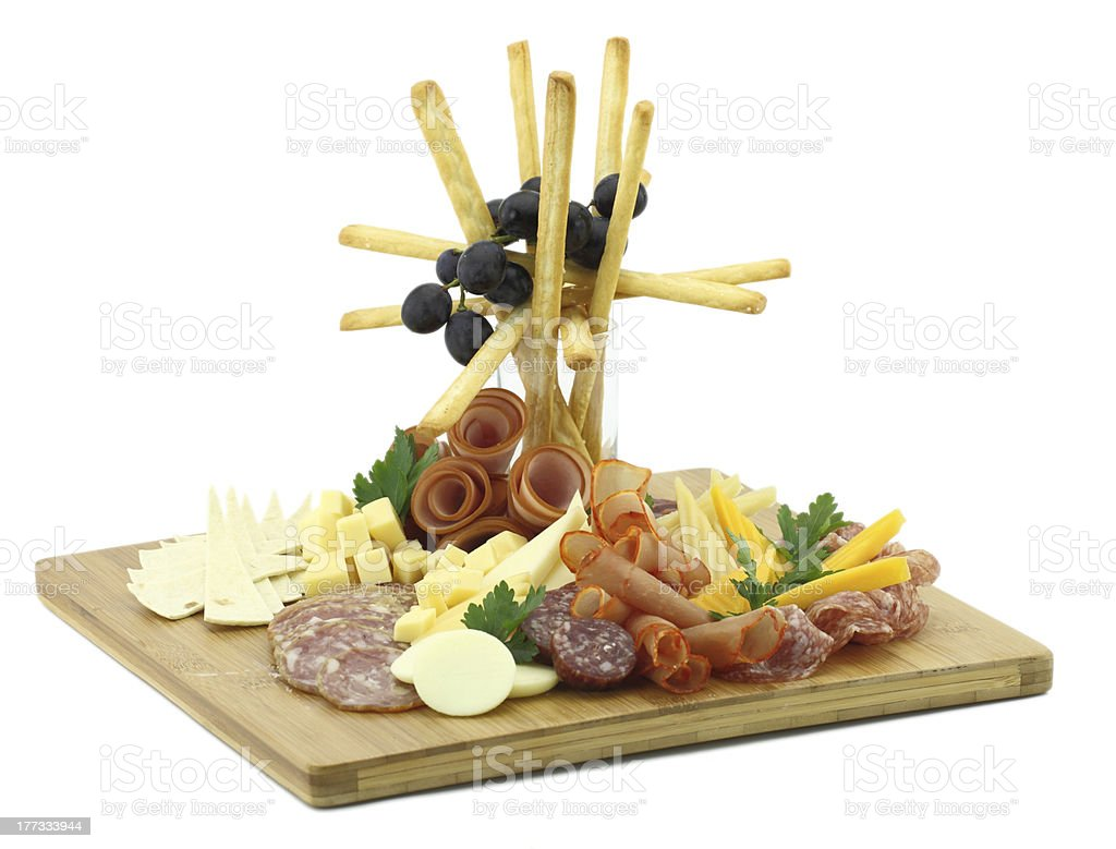 Try platter with cold cuts and cheese royalty-free stock photo