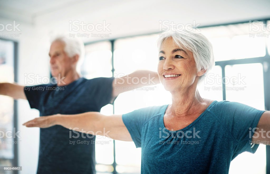 Try to maintain healthy fitness habits, no matter your age stock photo