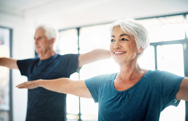 try to maintain healthy fitness habits, no matter your age - vitality stock photos and pictures