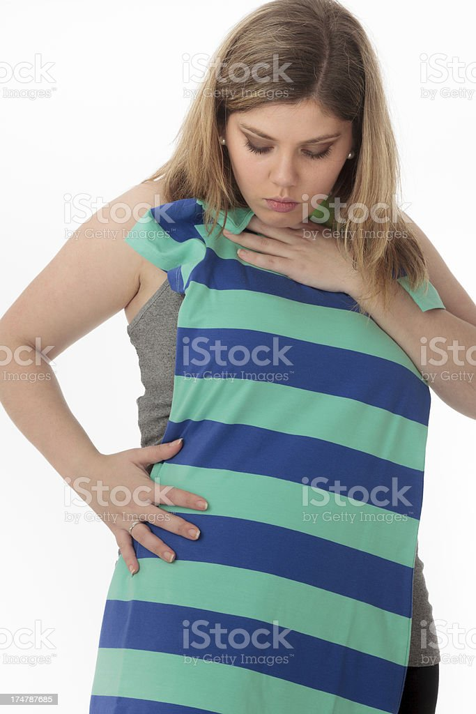 Trying on a dress royalty-free stock photo