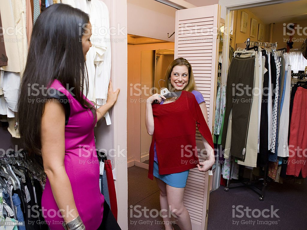 Trying on clothes royalty-free stock photo