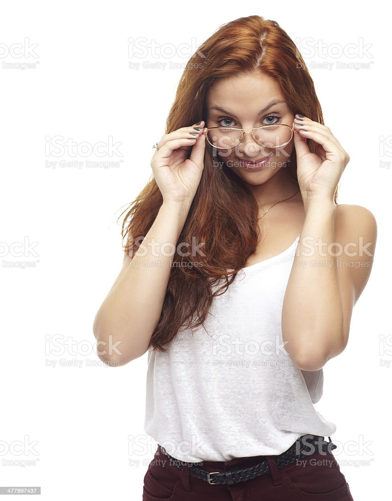 Trying on eyewear royalty-free stock photo