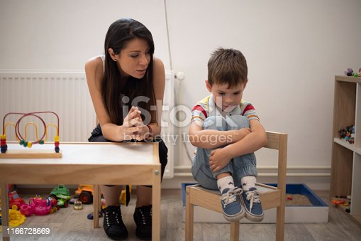 Five years old boy not cooperating with his psychotherapist.
