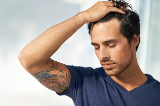 Trying to find some peace of mind stock photo