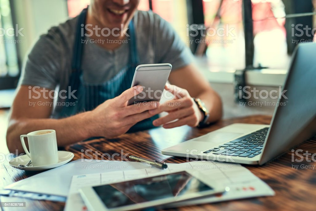 Trying to keep up with all these orders stock photo