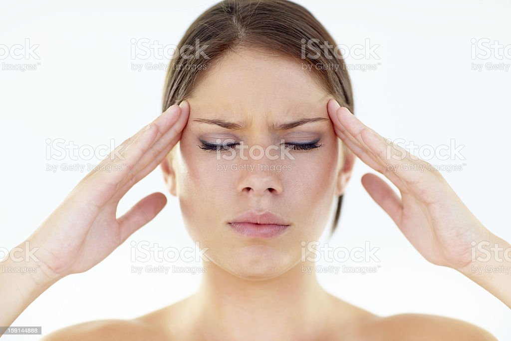 Trying to make it through a migraine royalty-free stock photo