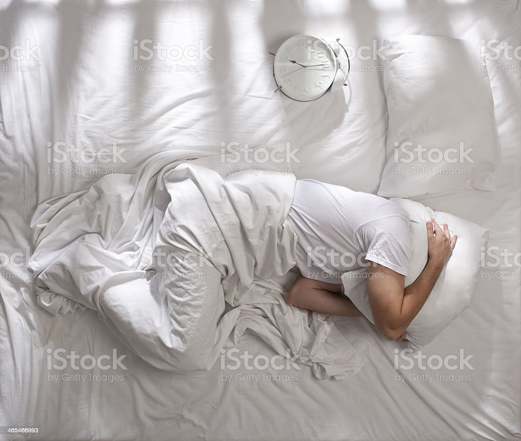 Trying to sleep. stock photo