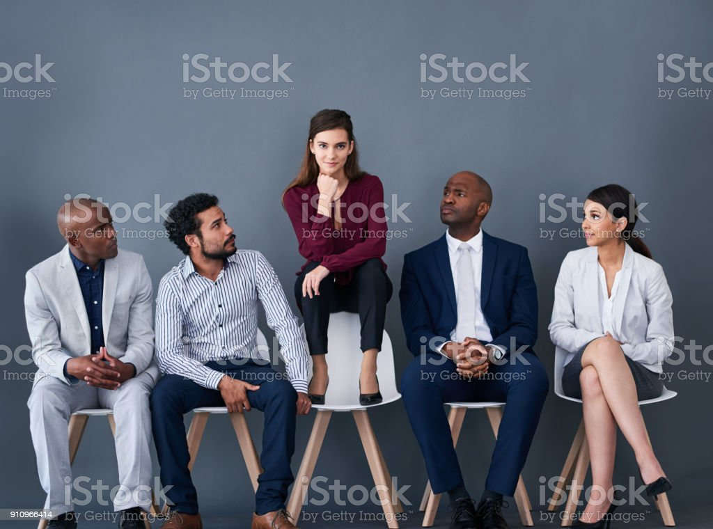 Trying to stand out for the interview stock photo
