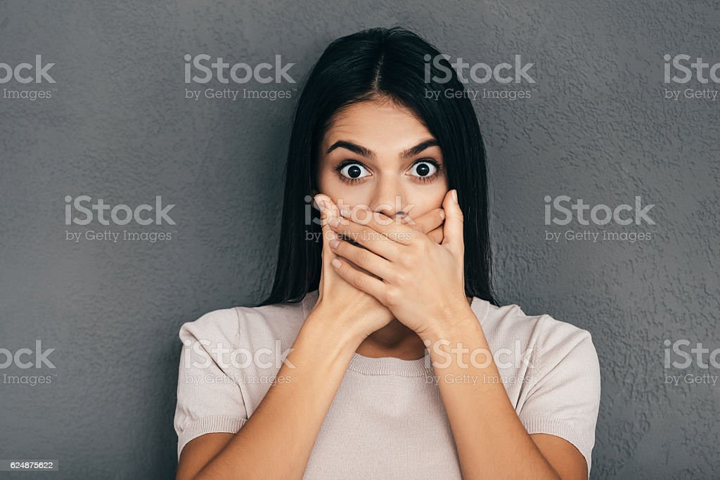 Trying to stop gossiping. stock photo