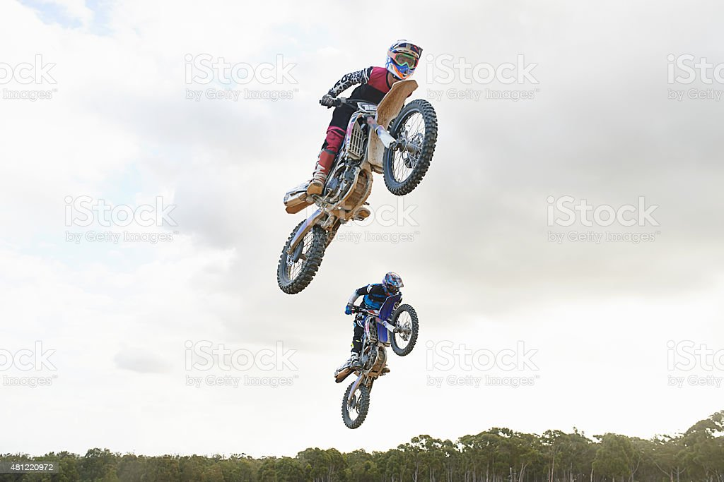 Tryna take him on the jump stock photo