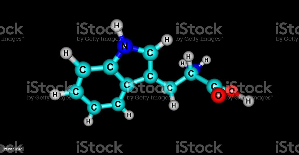 Tryptophan molecular structure isolated on black stock photo