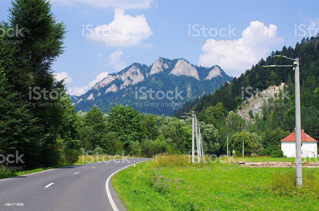 'Trzy korony' peaks in Pieniny mountains, Poland stock photo