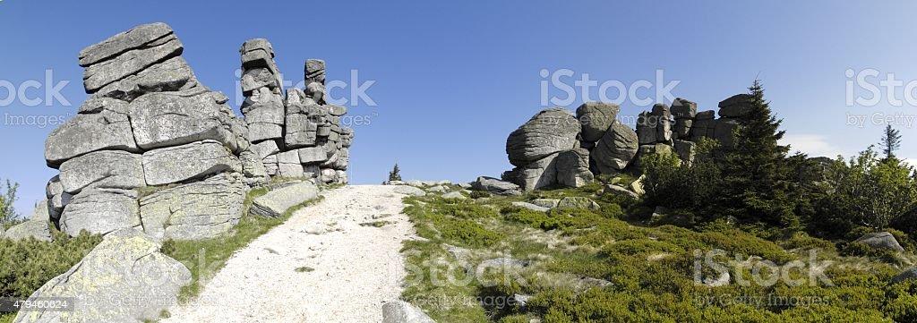 Trzy Swinki rocky formation in Krkonose mountains stock photo