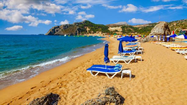 Tsampika beach in Rhodes, Greece. Famous tourist destination. stock photo