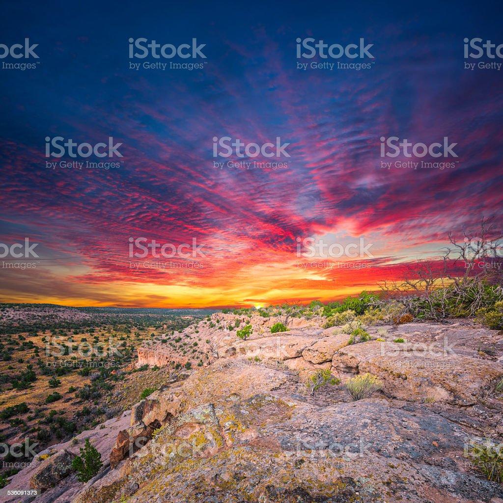 Tsankawi Sunrise stock photo