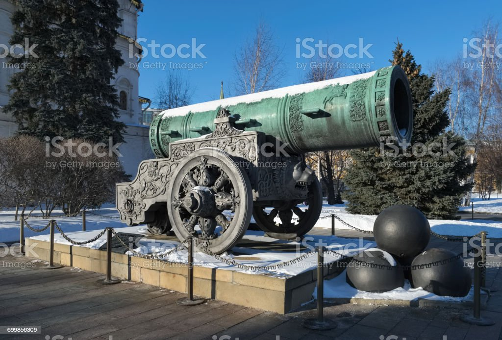 Tsar Cannon, a monument to the medieval Russian artillery, cast in 1586, gun weight 39.31 tons stock photo
