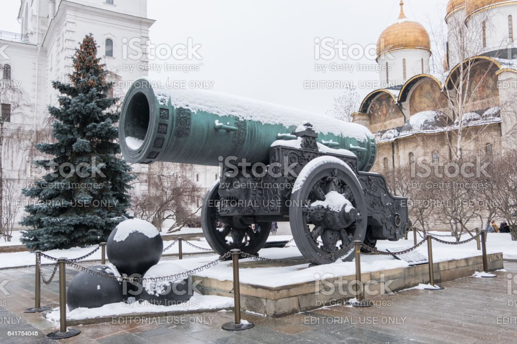 Tsar Cannon at the Moscow Kremlin, Russia. In winter stock photo