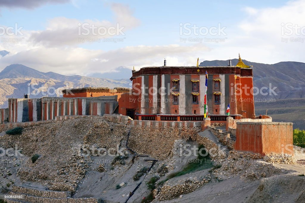 Tsarang Gompa is a monastery of the Sakya sect built in 1395. stock photo