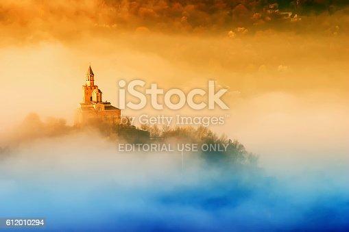 Tsarevets fortress at sunrise in fog