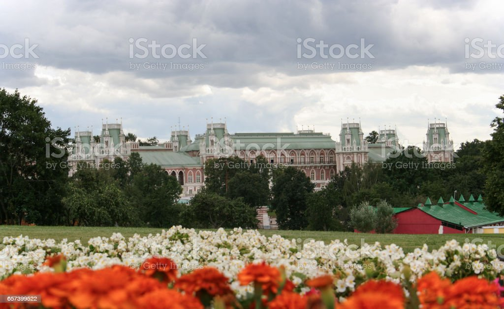 Tsaritsyno park in Moscow, view of the Grand palace stock photo