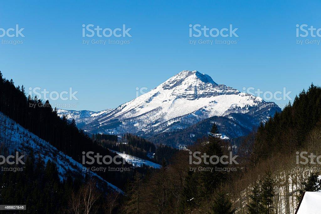 Ötscher mountain in winter viewed from Annaberg, Austria 1/3 stock photo