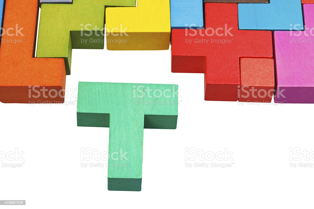 T-shaped block and wooden puzzle stock photo