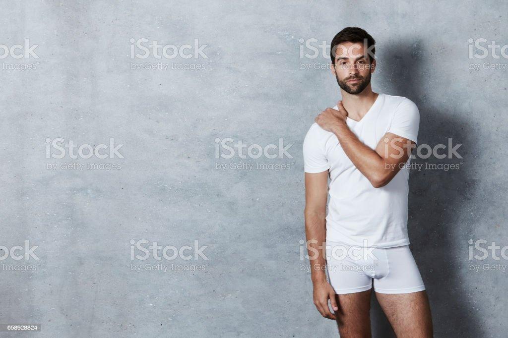 T-shirt and shorts guy stock photo