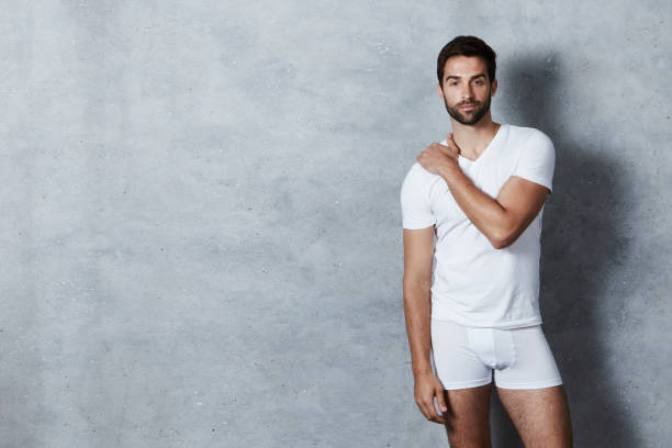 t-shirt and shorts guy - underwear stock photos and pictures