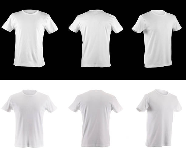 t-shirt collection front side and back - t shirt stock photos and pictures