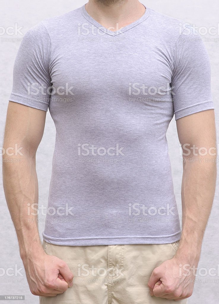 T-shirt cotton on a Young Man Template royalty-free stock photo