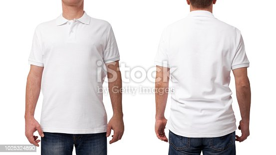 istock Tshirt design and clothing concept. Young man in blank white shirt front and rear isolated. 1025324890
