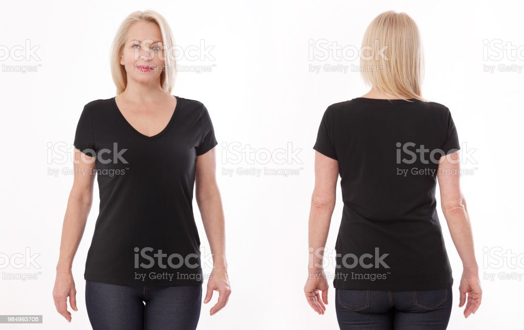 d4a3086a T-shirt design and people concept - close up of woman in blank black t-shirt,  shirt front and rear isolated. Mock up. - Stock image .