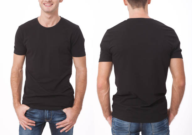 t-shirt design and people concept - close up of young man in blank black t-shirt, shirt, front and rear isolated. clean shirt mock up for design set. - t shirt stock photos and pictures