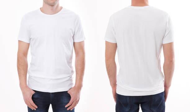 t-셔츠 디자인 및 사람들 개념-빈 흰색 티셔츠, 셔츠 앞면과 뒷면에 고립 된 젊은 남자의 닫습니다. - 백인종 뉴스 사진 이미지