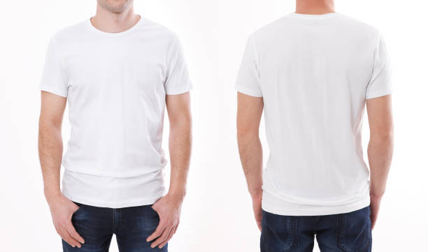 t-shirt design and people concept - close up of young man in blank white t-shirt, shirt front and rear isolated. - bianco foto e immagini stock