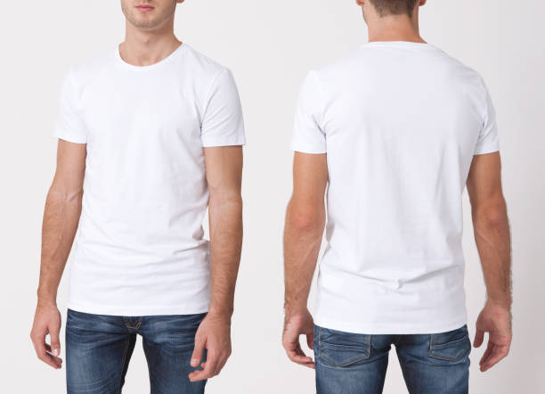 t-shirt design and people concept - close up of young man in blank white t-shirt, shirt, front and rear isolated. clean shirt mock up for design set. - white tshirt stock photos and pictures