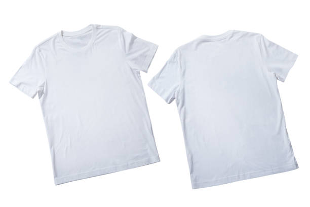 T-shirt design fashion concept, closeup of man and boy in blank white t-shirt, shirt front end rear isolated. Mock up. T-shirt design fashion concept, closeup of man and boy in blank white t-shirt, shirt front end rear isolated. Mock up for sublimation. white t shirt stock pictures, royalty-free photos & images