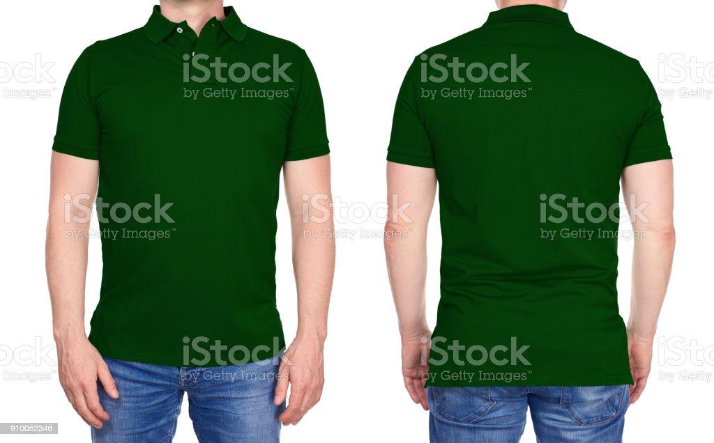 T-shirt-Design - Mann im leeren dunklen grünen Polo-Shirt isoliert – Foto