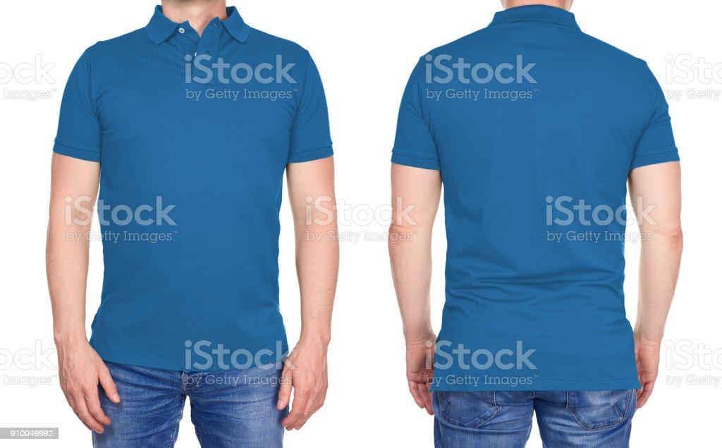T-shirt-Design - Mann in leere hellblaues Polo Hemd isoliert – Foto