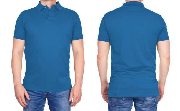 t-shirt design - man in lege licht blauw poloshirt geïsoleerd - korte mouwen stockfoto's en -beelden