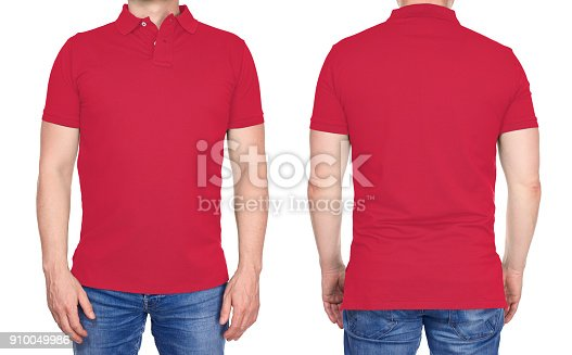istock T-shirt design - man in blank light red polo shirt isolated 910049986